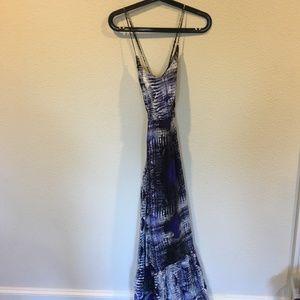 Parker blue and black maxi dress